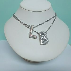Custom Crystal letter initial monogram necklace